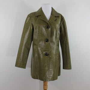 Chico's 100% Leather Green Crocodile Coat Jacket M